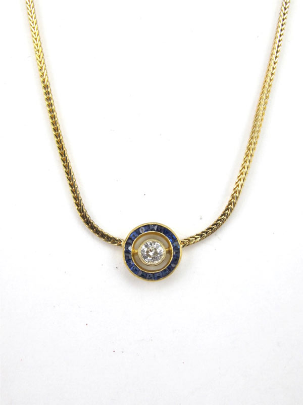 Diamond & Sapphire Pendant 14K Yellow Gold