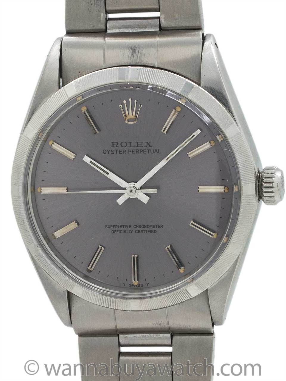 Rolex Oyster Perpetual ref 1002 Gray Purple Dial circa 1969