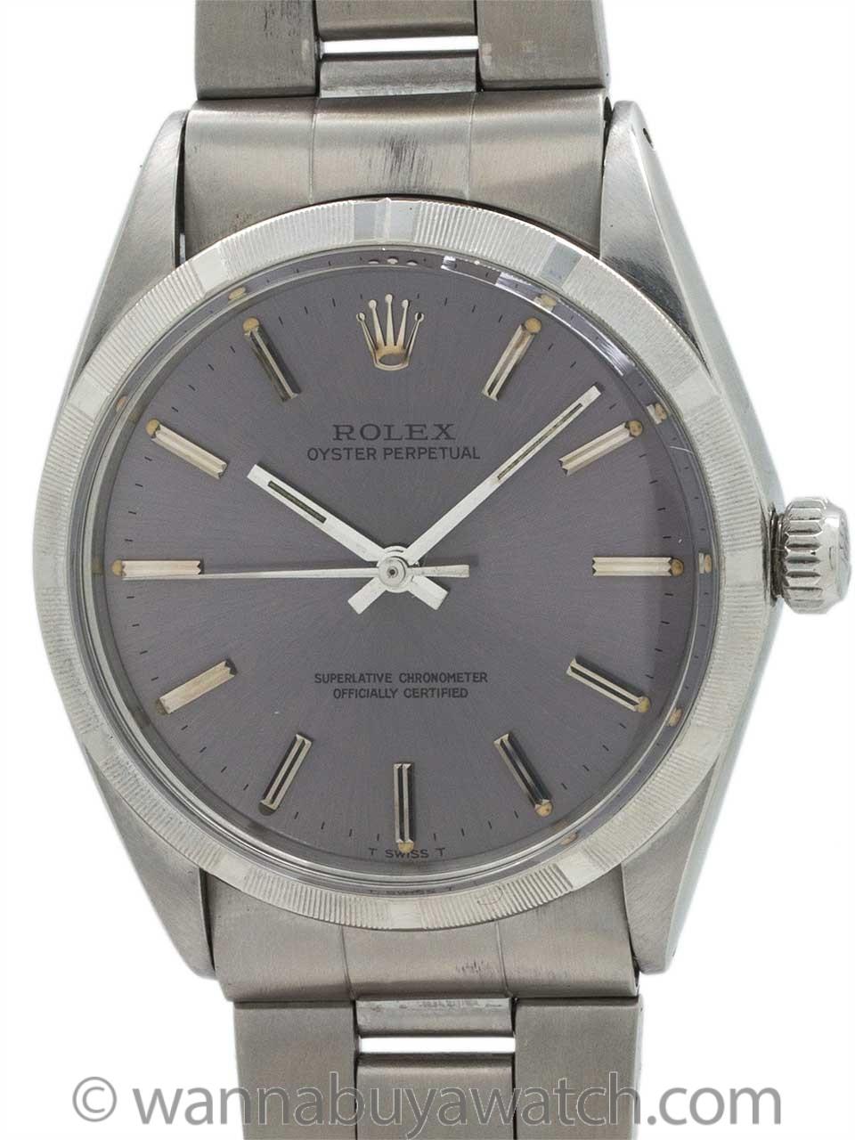 Rolex Oyster Perpetual ref 1002 Gray Purple Dial circa 1969
