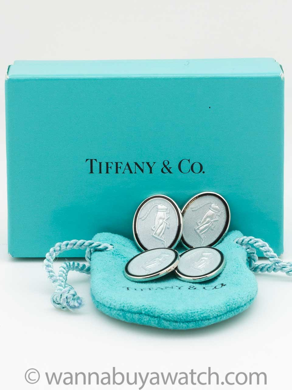 Tiffany & Co Sterling & Enamel Cufflinks Cricket Motif