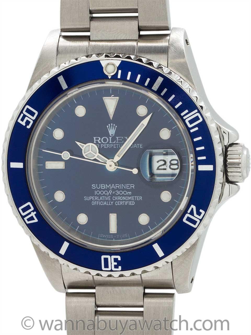 "Rolex Submariner ref 16610 circa 1987 Custom ""Sapphire"" Blue Dial"