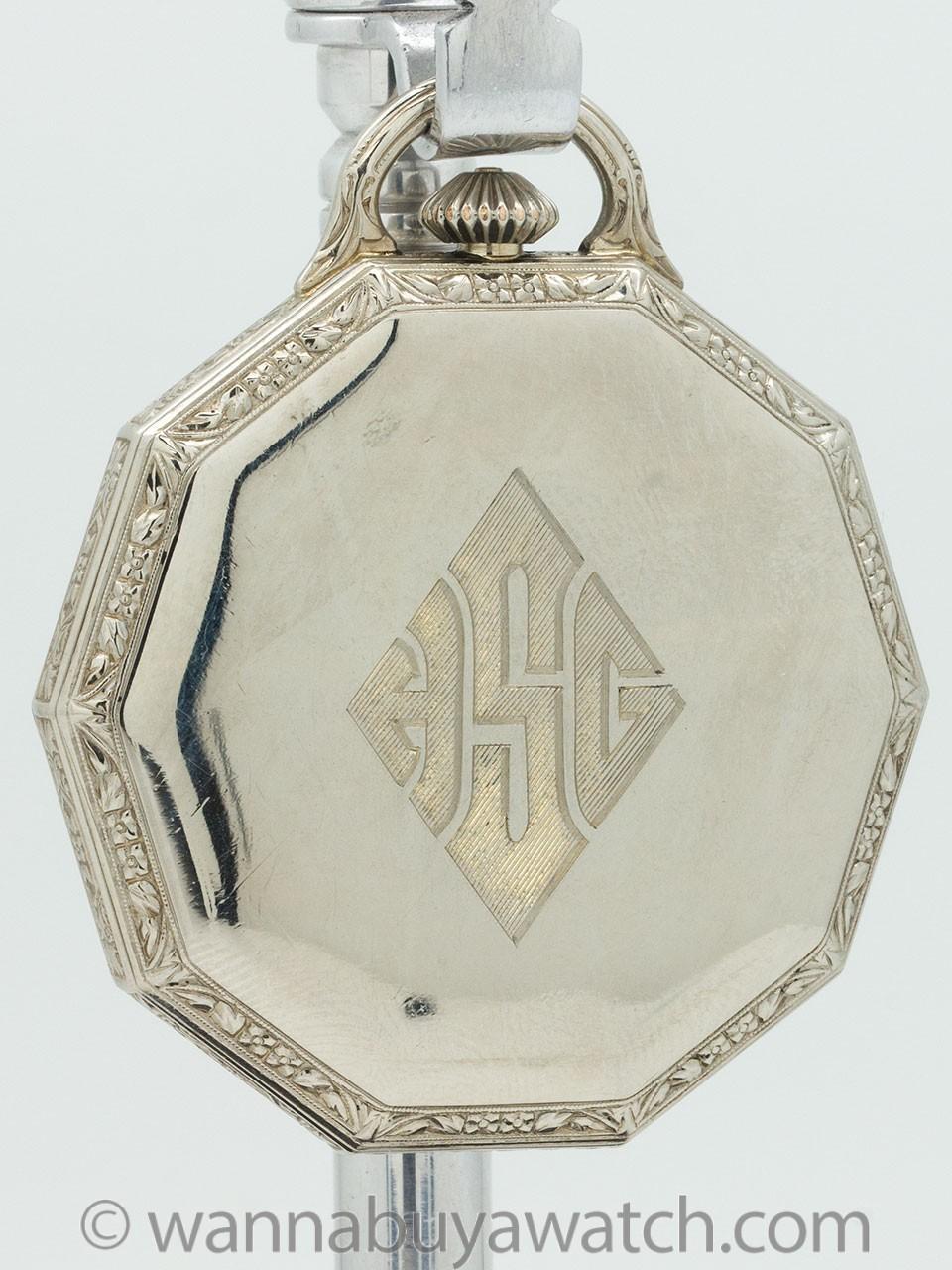 Hamilton Dress Pocket Watch 14K White Gold circa 1929
