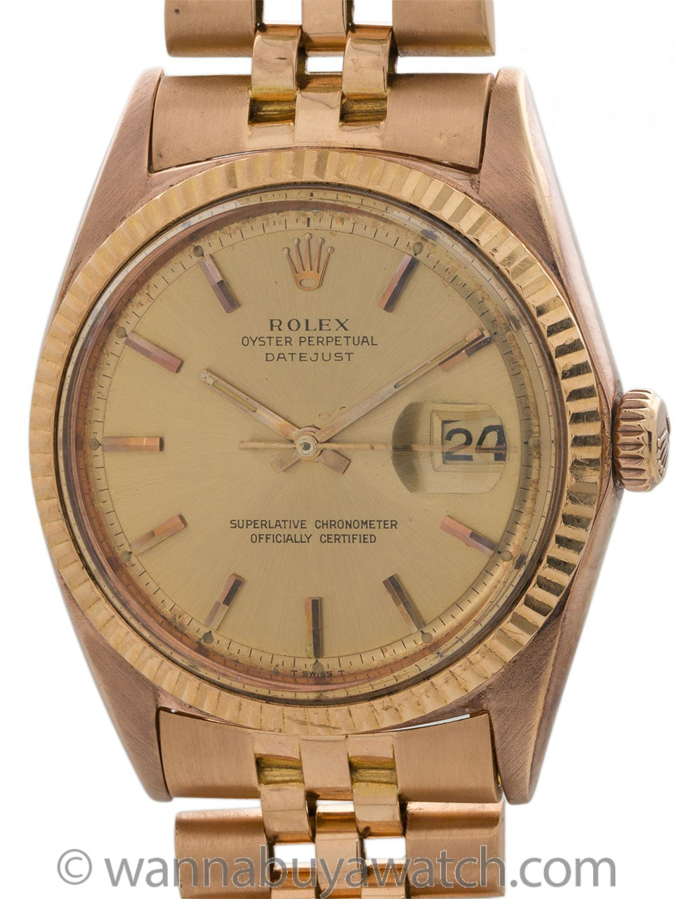 Rolex 18K Rose Gold Datejust ref 1601 circa 1970's