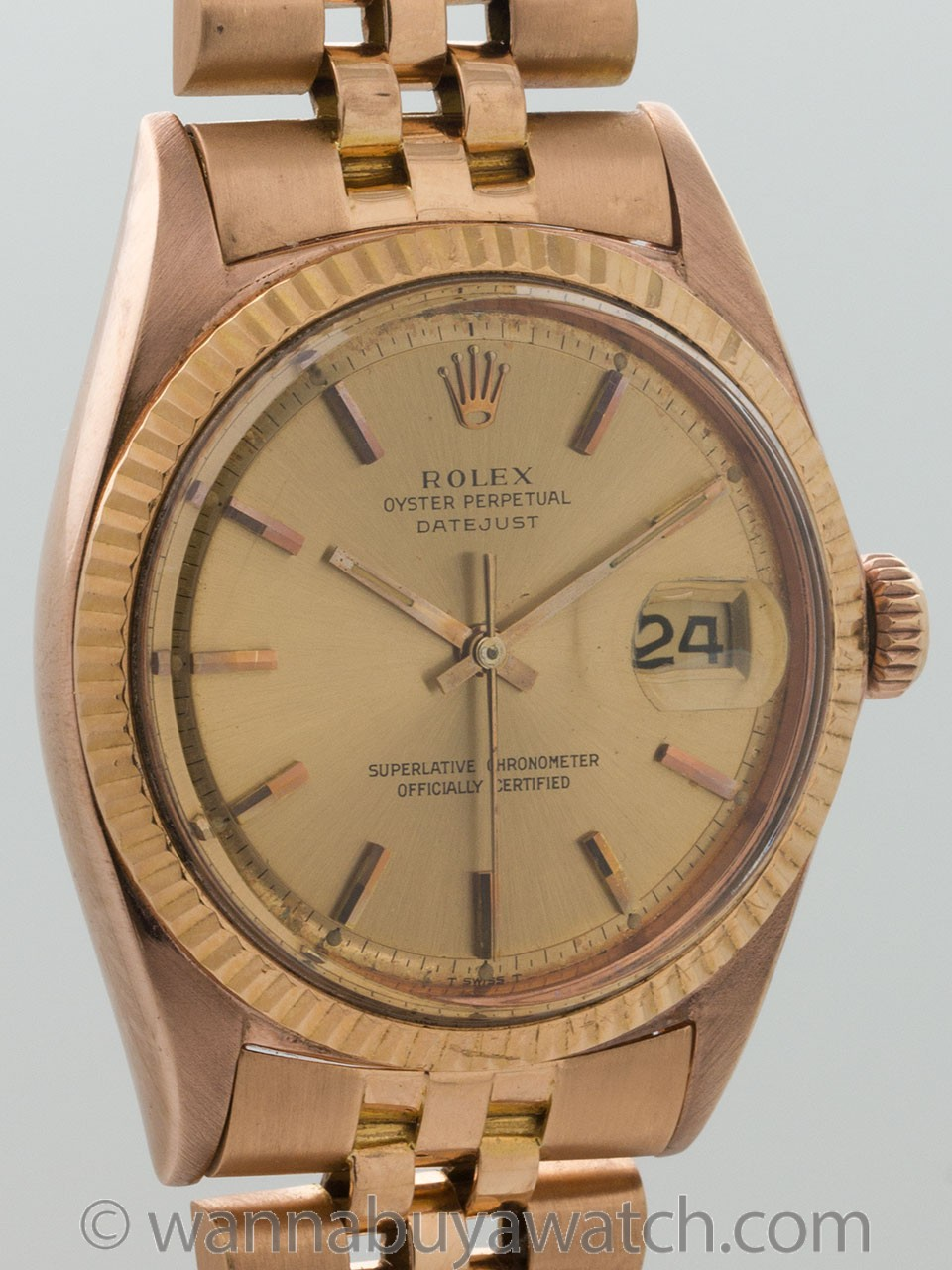 Rolex 18K Rose Gold Datejust ref 1601 circa 1970's
