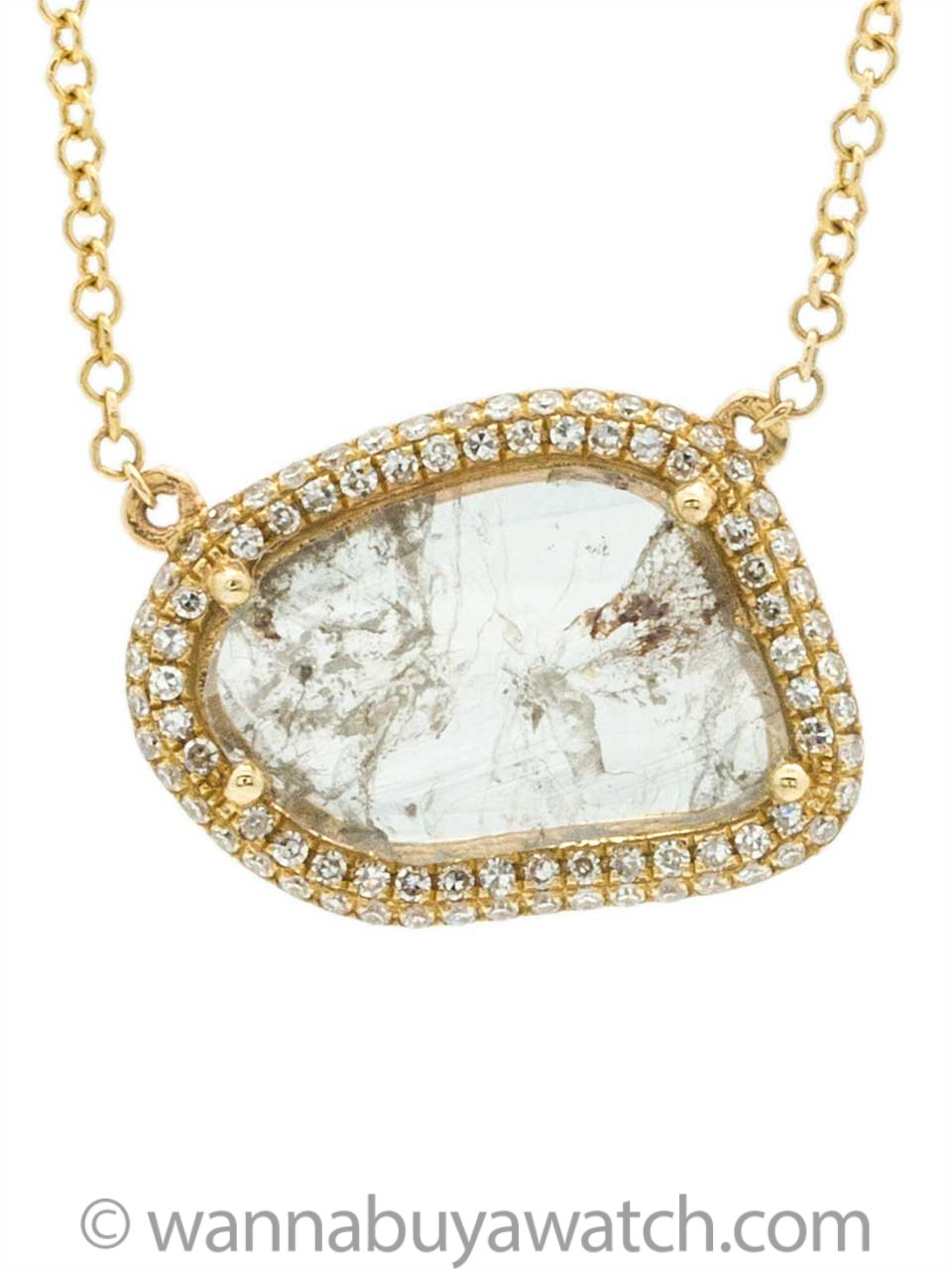 14K YG Diamond Slice Pendant