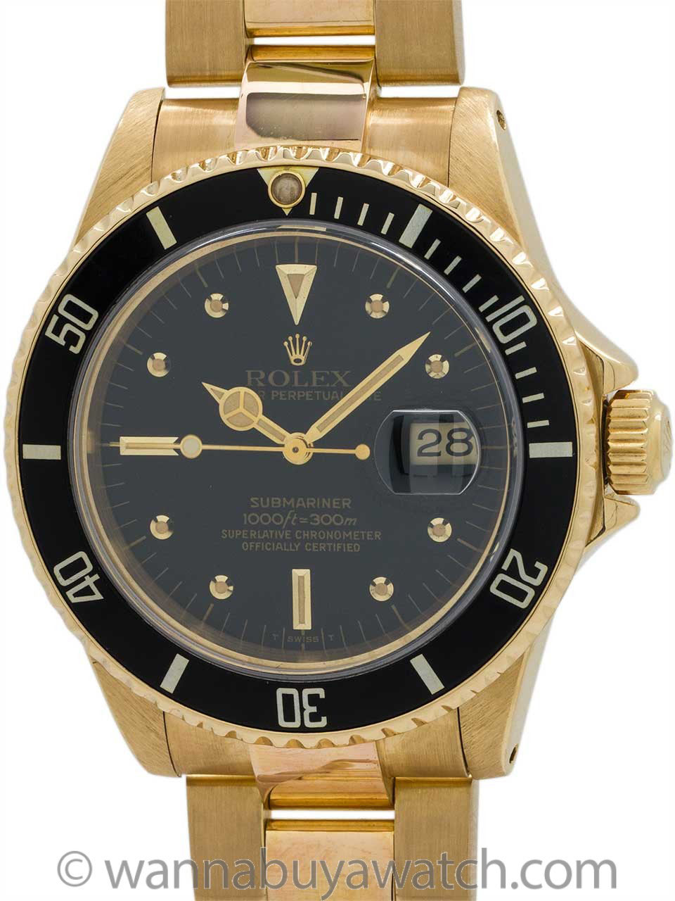 Rolex Submariner ref 16808 18K YG Transitional circa 1980