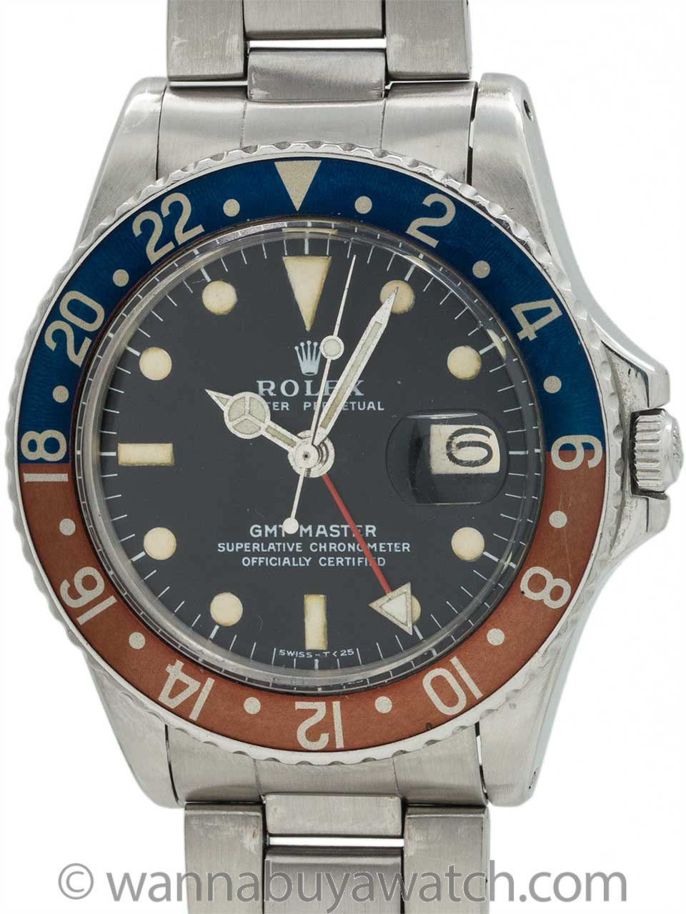 Rolex GMT ref 1675 Stainless Steel circa 1966 Gorgeous Example