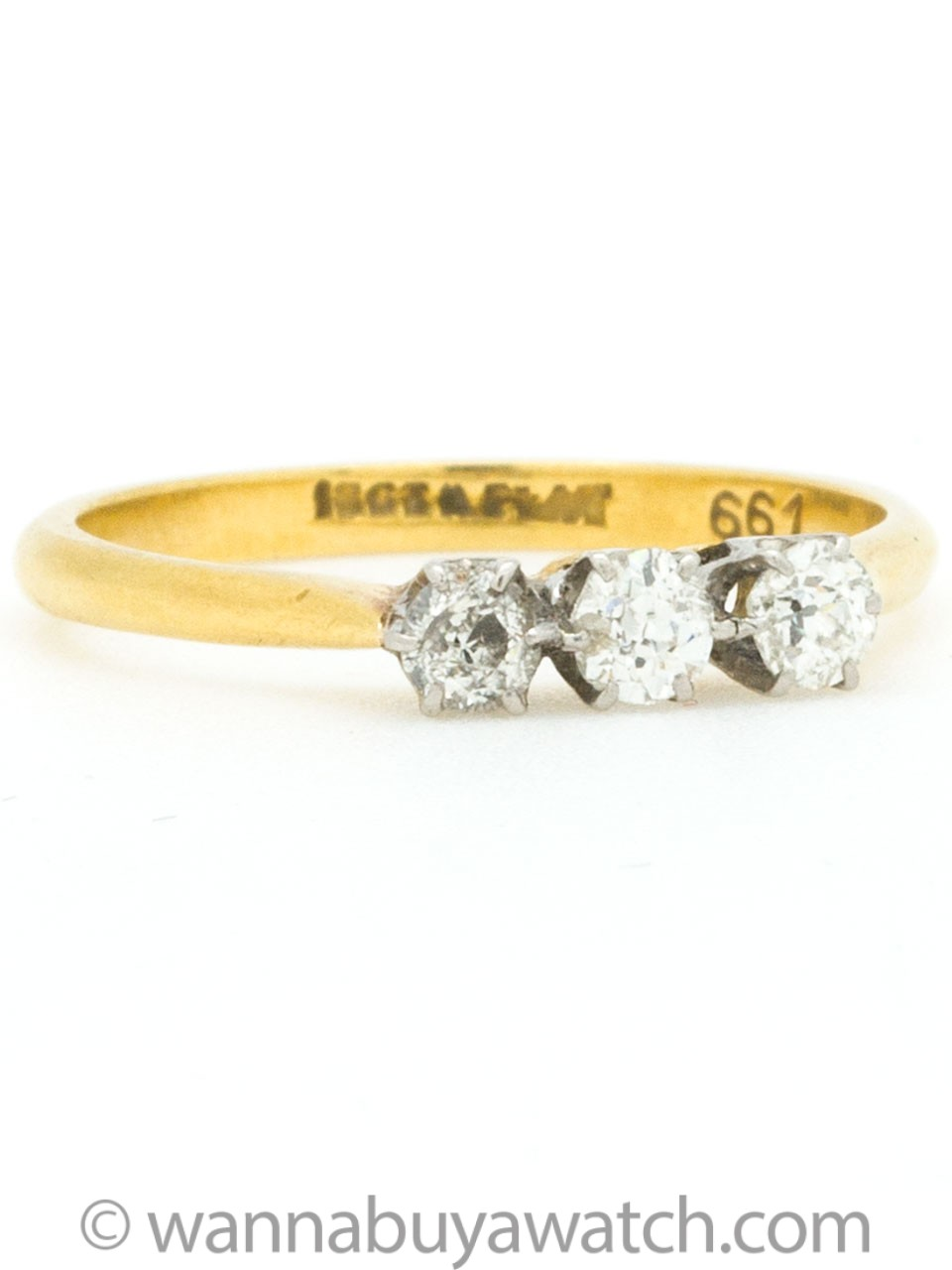 Vintage Old Mine Cut Diamond 3 Stone Ring