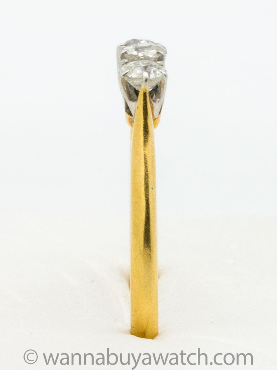 Vintage Old Mine Cut Diamond 3 Stone Ring