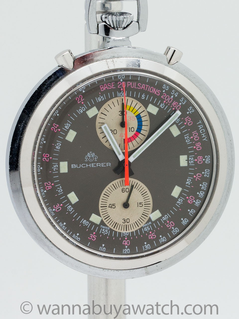 Bucherer Chronograph Pocket Watch circa 1960's
