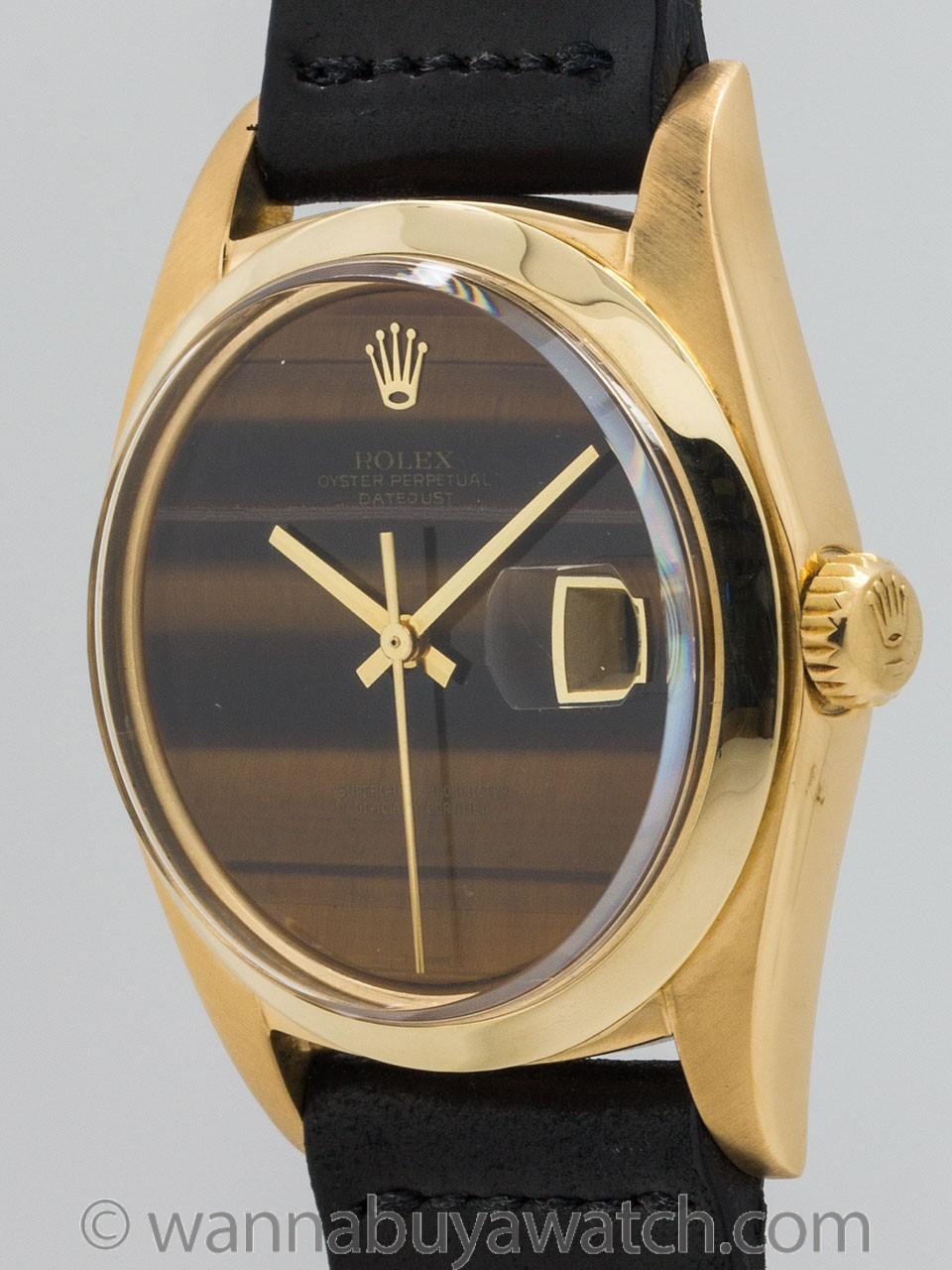 Rolex 18K YG Datejust ref 1601 Tiger's Eye circa 1974