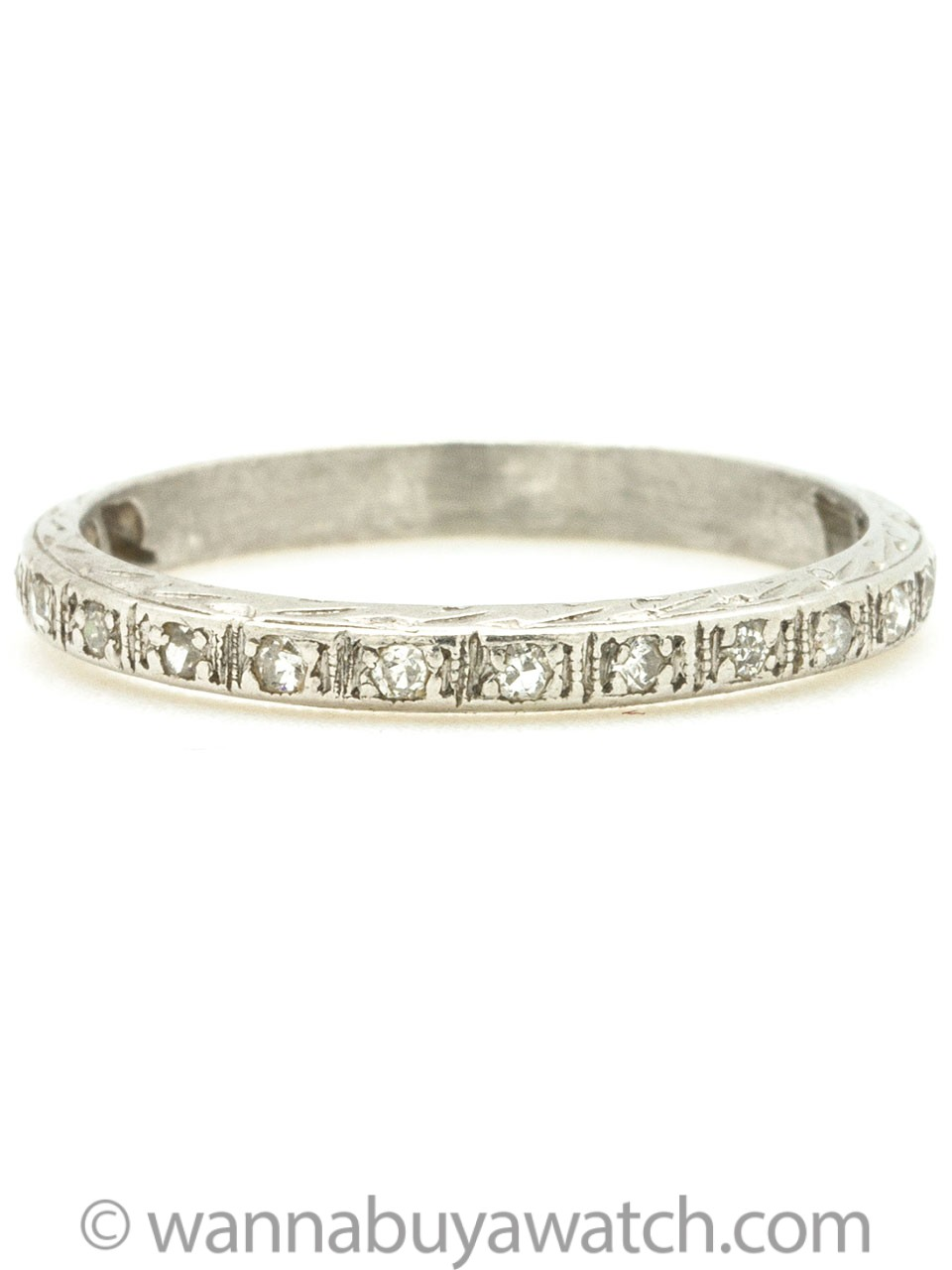 1920s Engraved Platinum and Diamond Band
