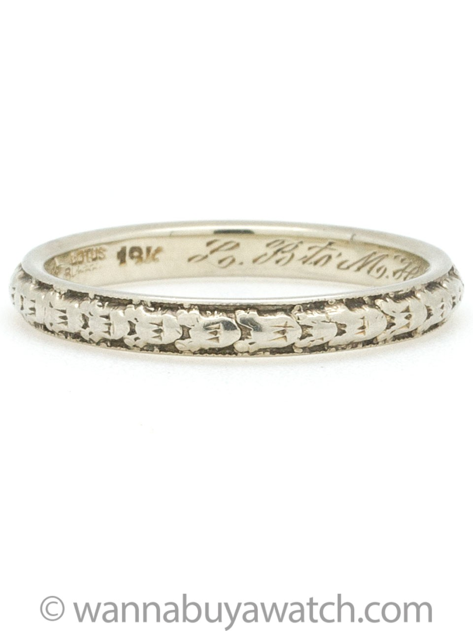 1920s 18K White Gold Floral Wedding Band