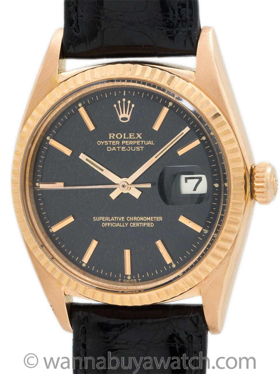 Rolex Datejust ref 1601 18K PG Black Original Dial circa 1963