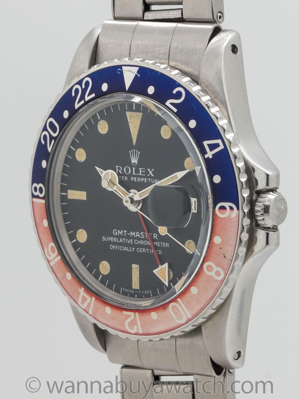 Rolex GMT ref 1675 Pepsi Bezel circa 1968
