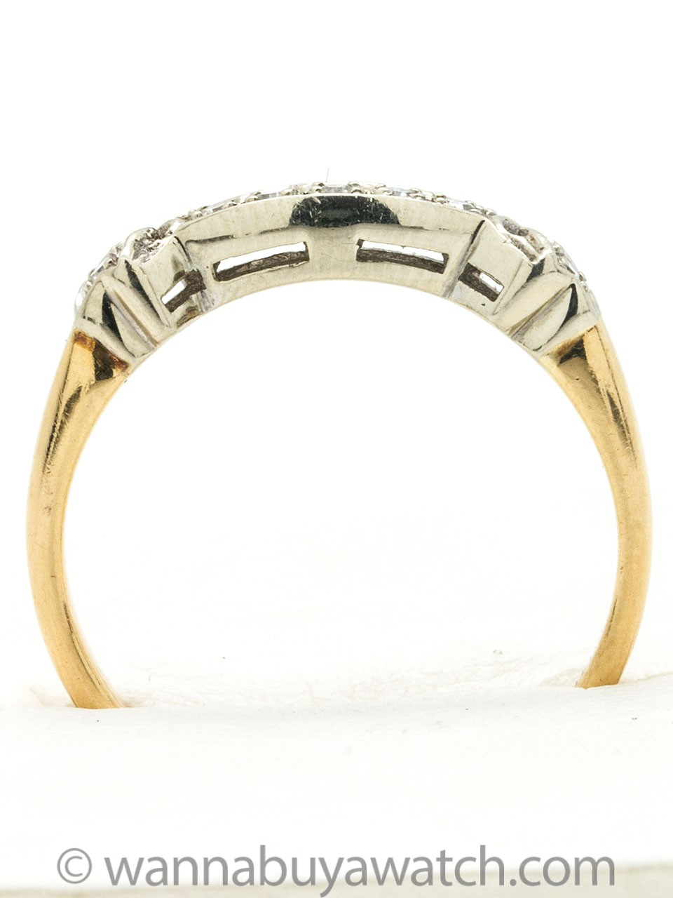 1940s Yellow Gold and Diamond Curved Band