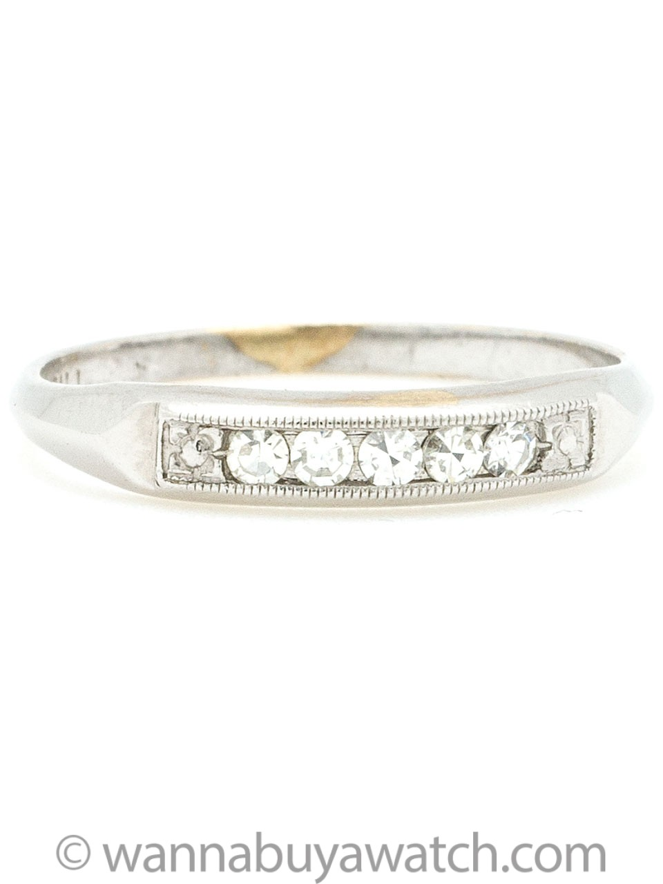1940s White Gold and 5 Diamond Band
