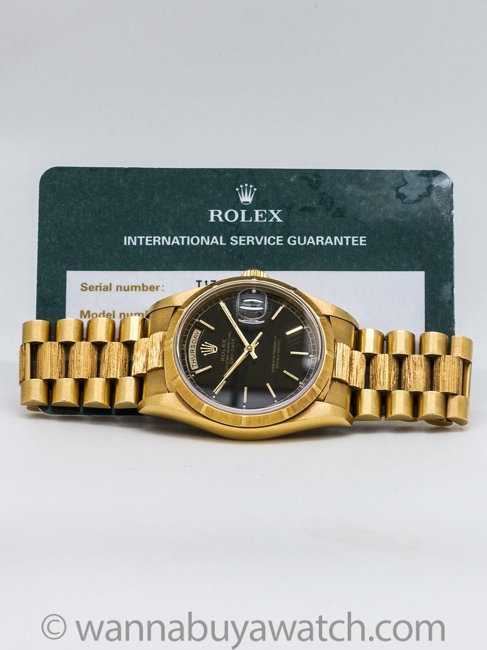 "Rolex 18K YG ""Bark"" Day Date ref 18248 circa 1996"