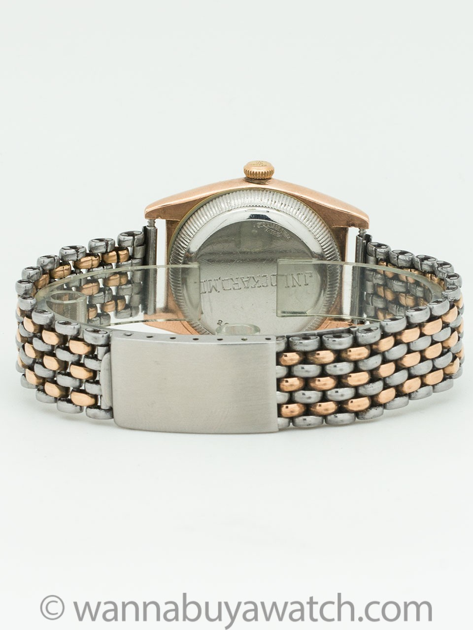 Rolex Bubbleback ref 3725 Stainless & Rose Gold Rice Bracelet Shipping Box circa 1944