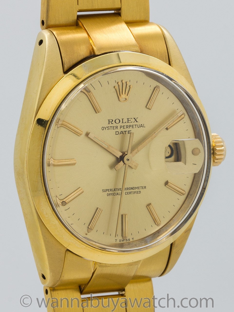 Rolex Oyster Perpetual Date ref 1500 Gold Shell circa 1979