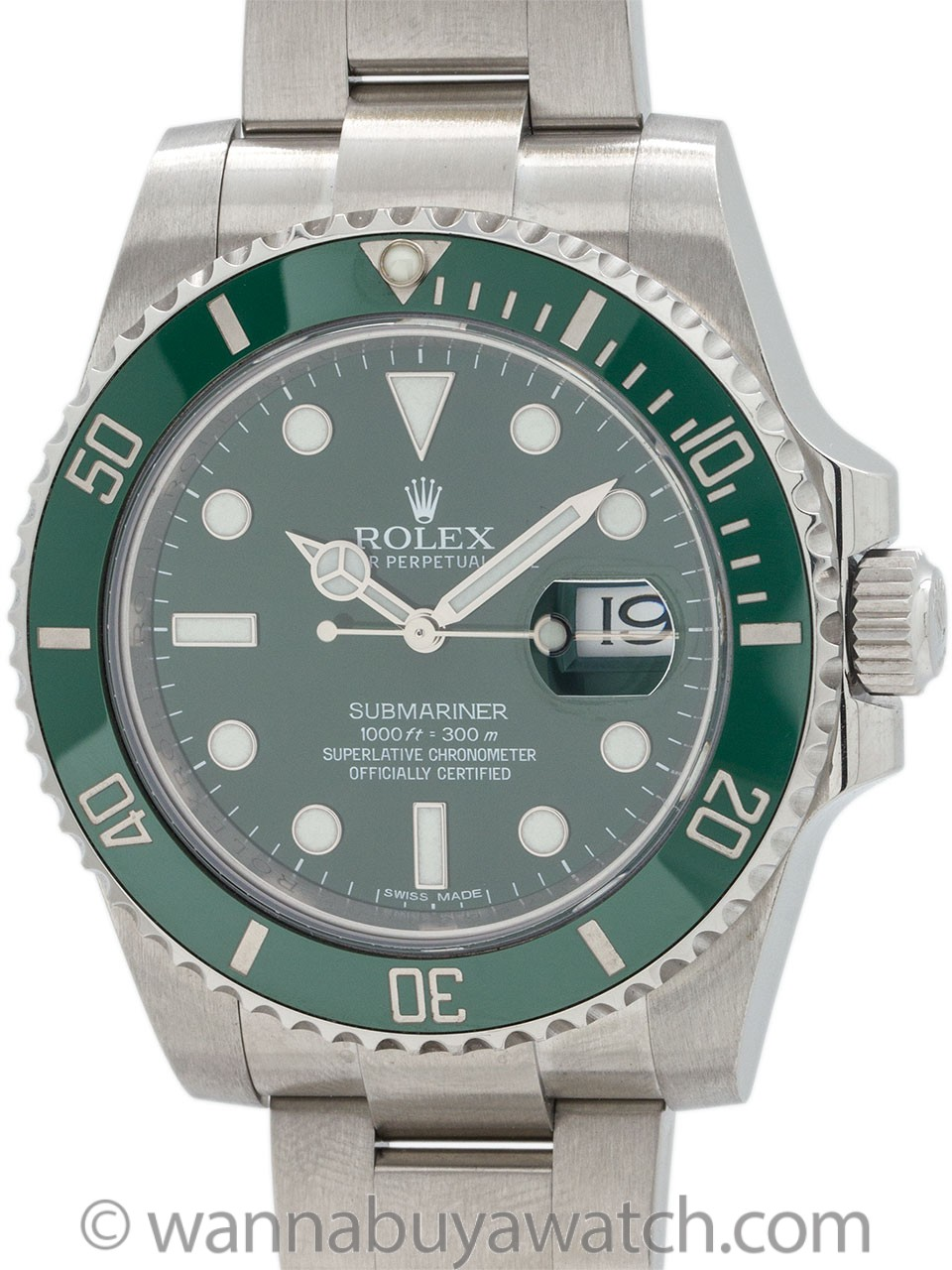 "Rolex Submariner ref 116610LV Green Ceramic ""Hulk"" circa 2016"