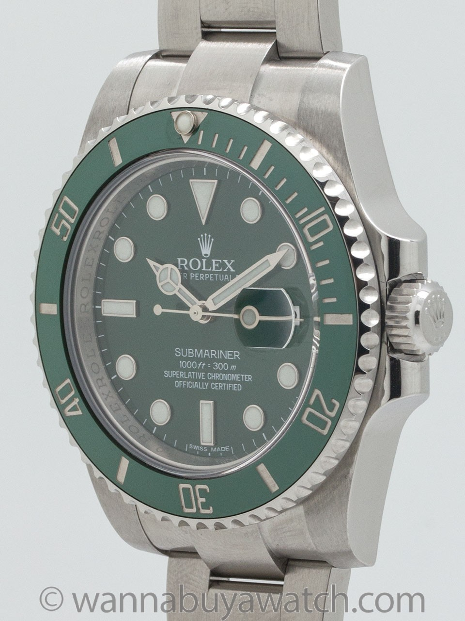 "Rolex Submariner ref 116610LV Green Ceramic ""Hulk"" circa 2015 Box & Papers"