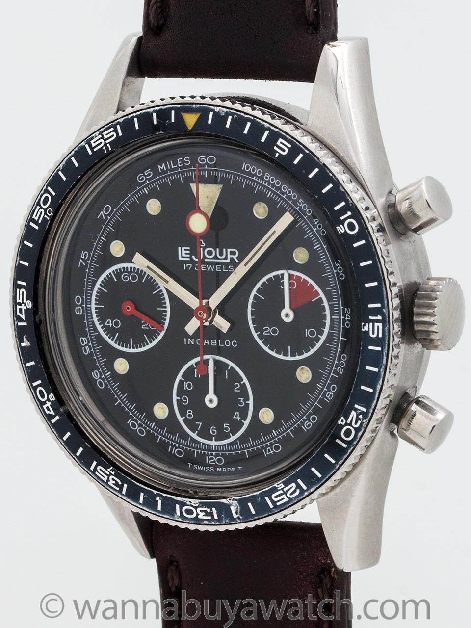 Lejour Chronograph 3 Registers Valjoux 7336 circa 1960