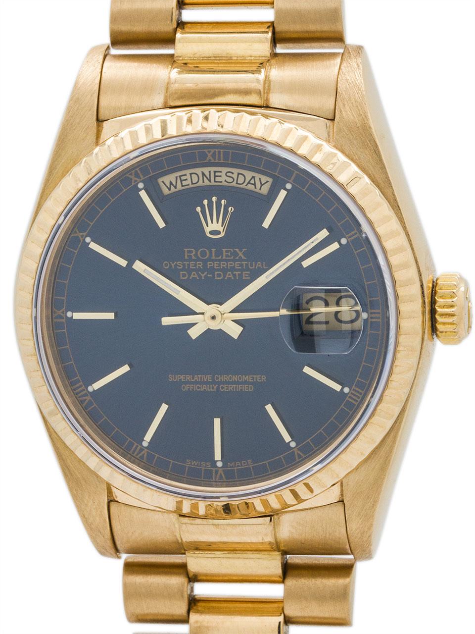 Rolex 18K YG Day Date President ref 18038 circa 1987