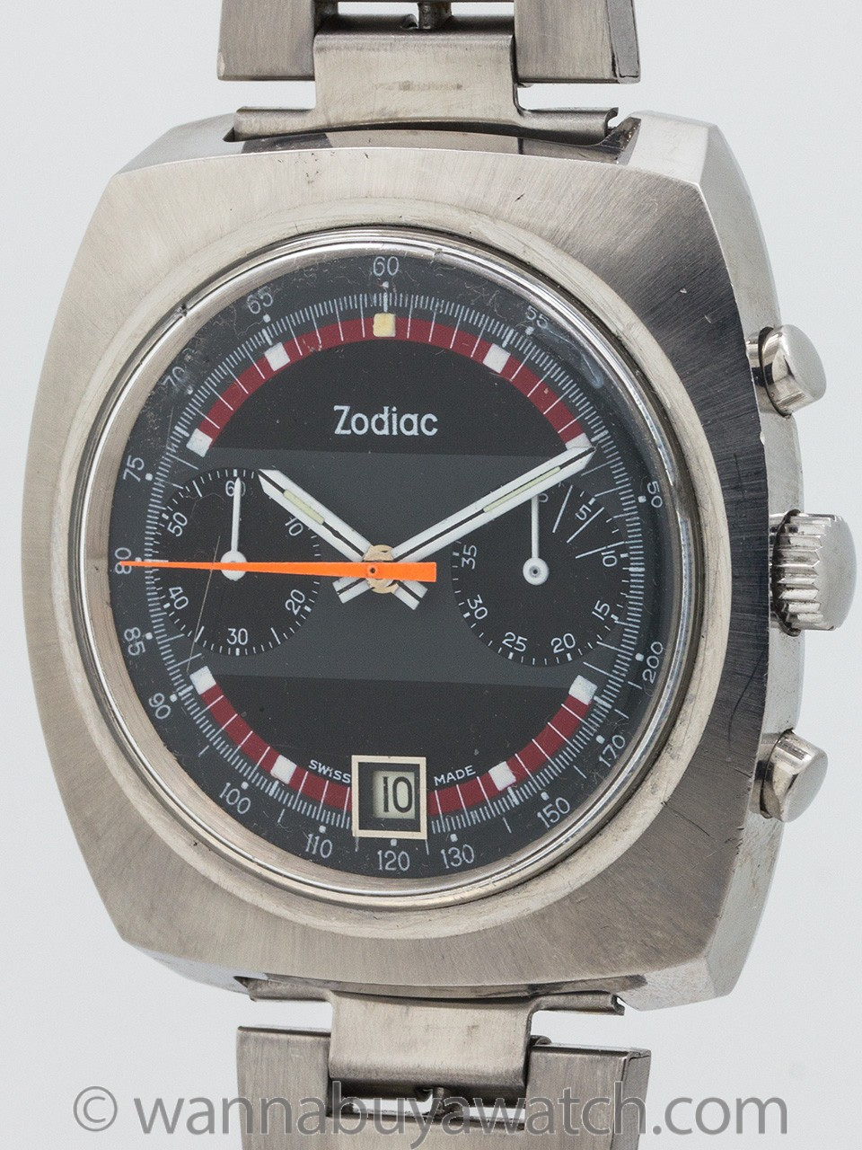 Zodiac Stainless Steel Massive Chronograph circa 1970's