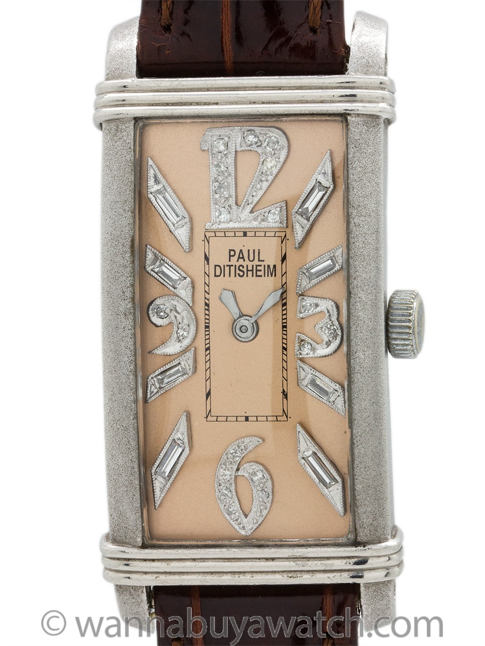 Paul Ditisheim Platinum Art Deco Diamond Dial circa 1930's