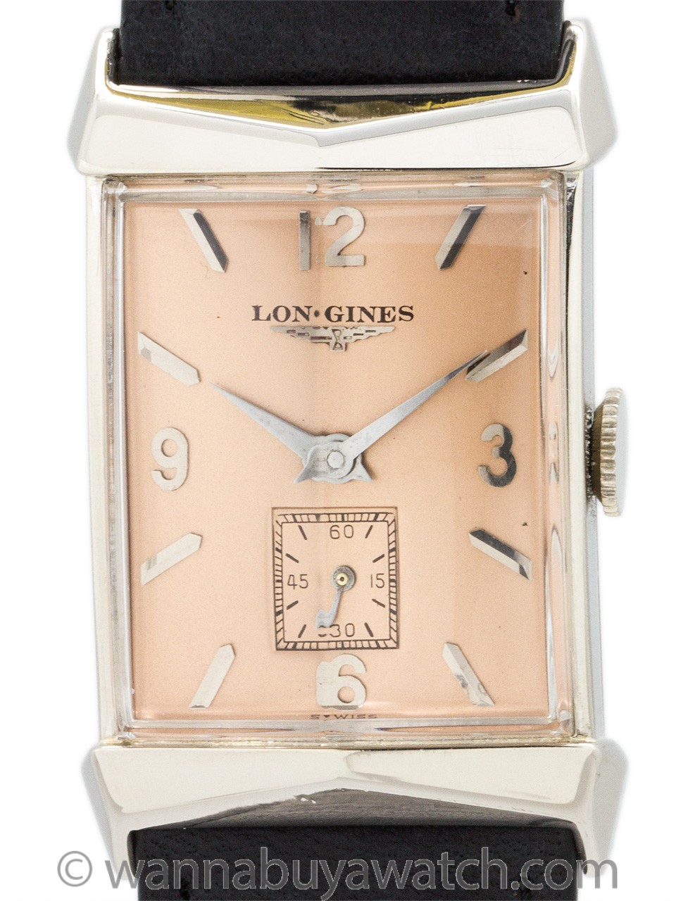Longines 14K White Gold Rectangle circa 1950's