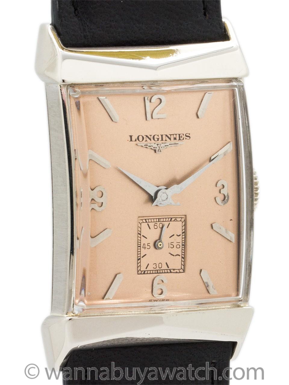 Longines 14K White Gold Rectangle circa 1950's
