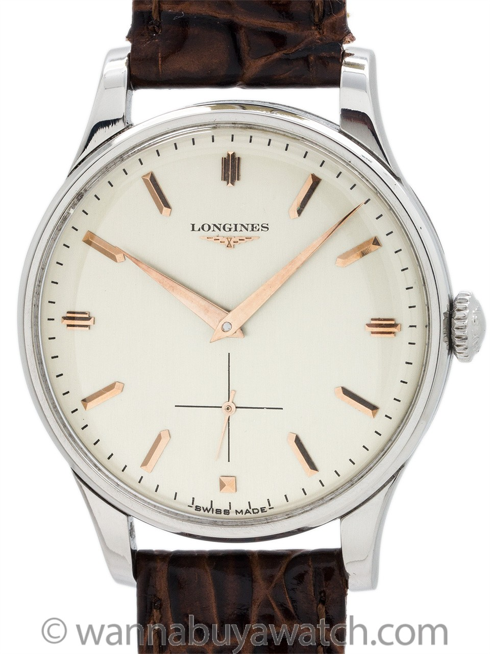 Longines Oversize Stainless Steel Dress Model circa 1956