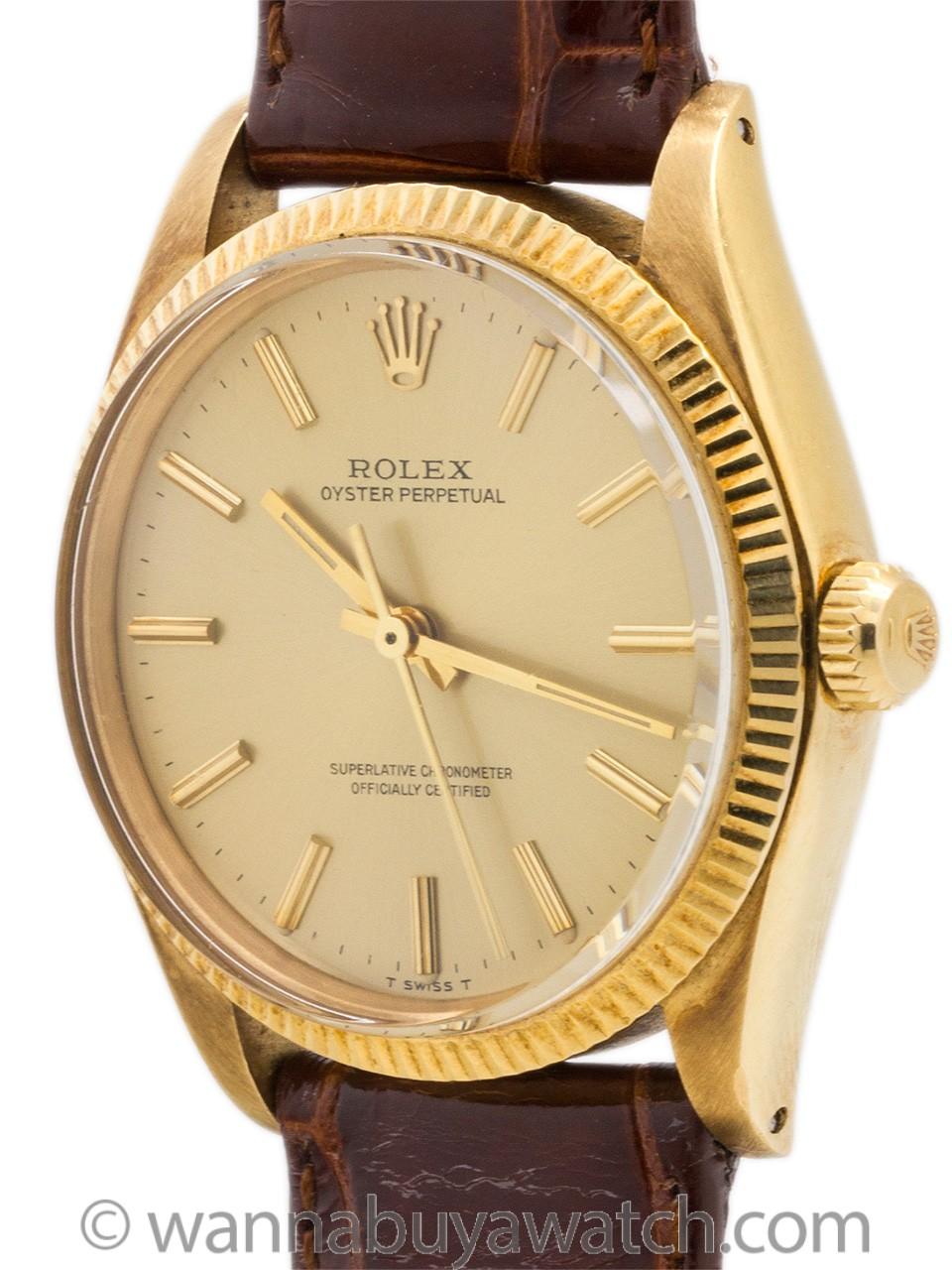 Rolex Oyster Perpetual 18K YG ref 1005 circa 1977