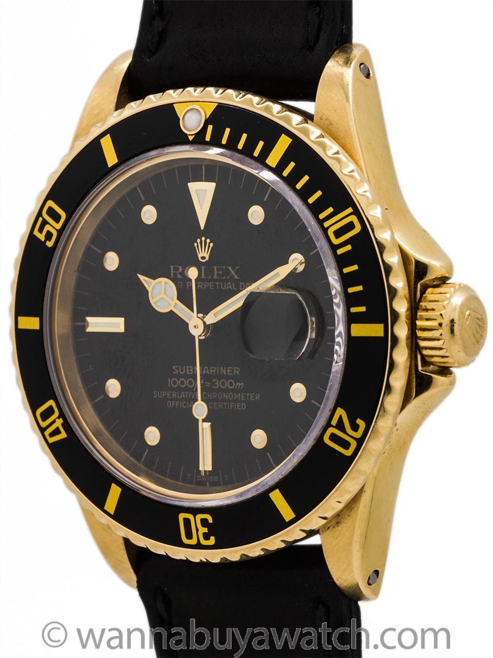 "Rolex Submariner 18K YG ref 16808 Transitional ""Nipple"" Dial circa 1983"