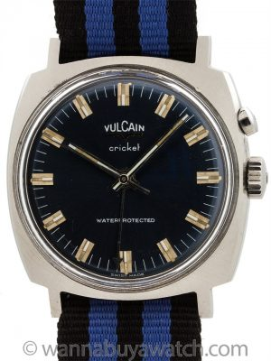 Vulcain Cricket Alarm Blue circa 1970's