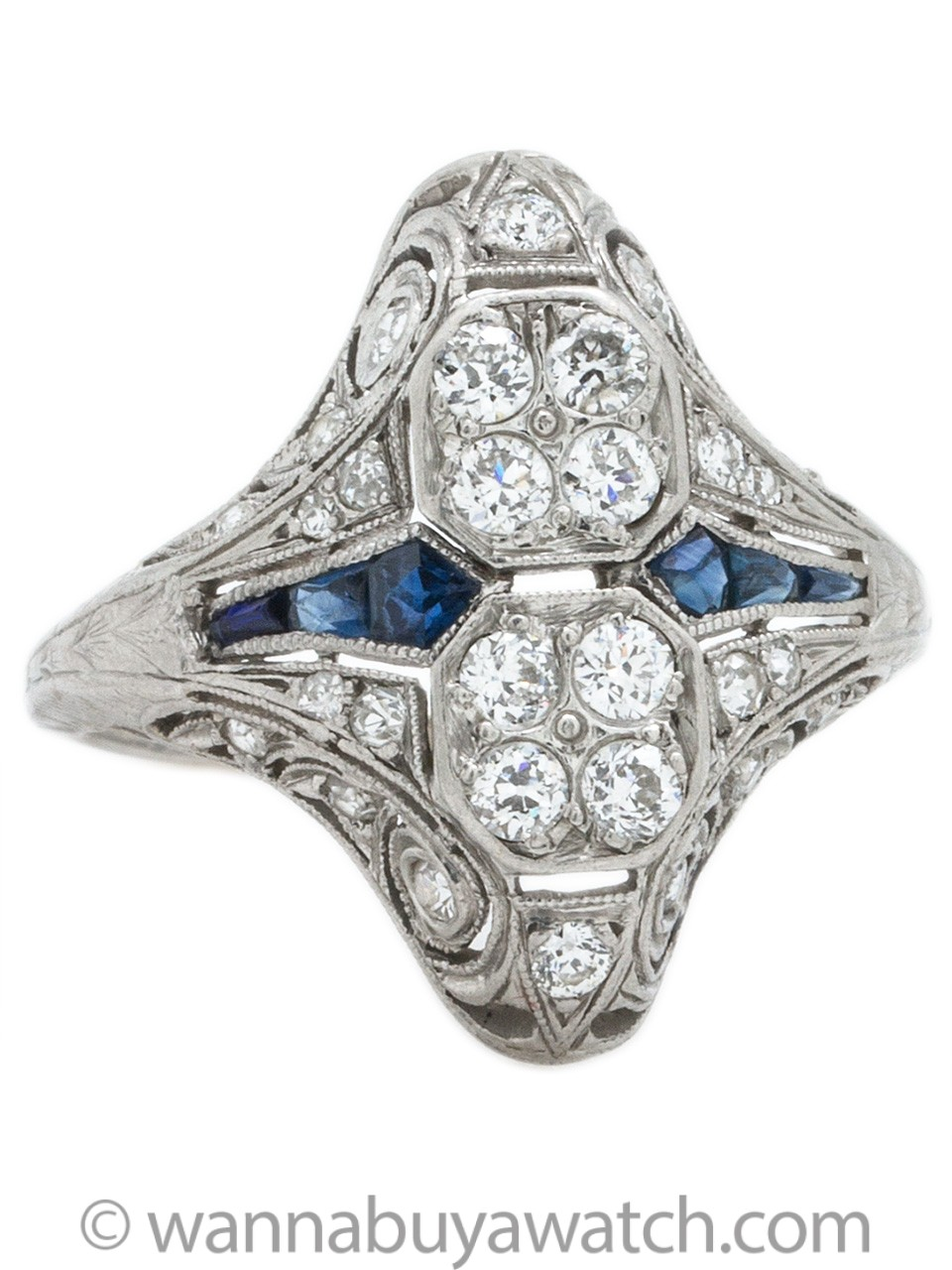 Stunning Art Deco Platinum Diamond & Sapphire Cocktail Ring circa 1920s