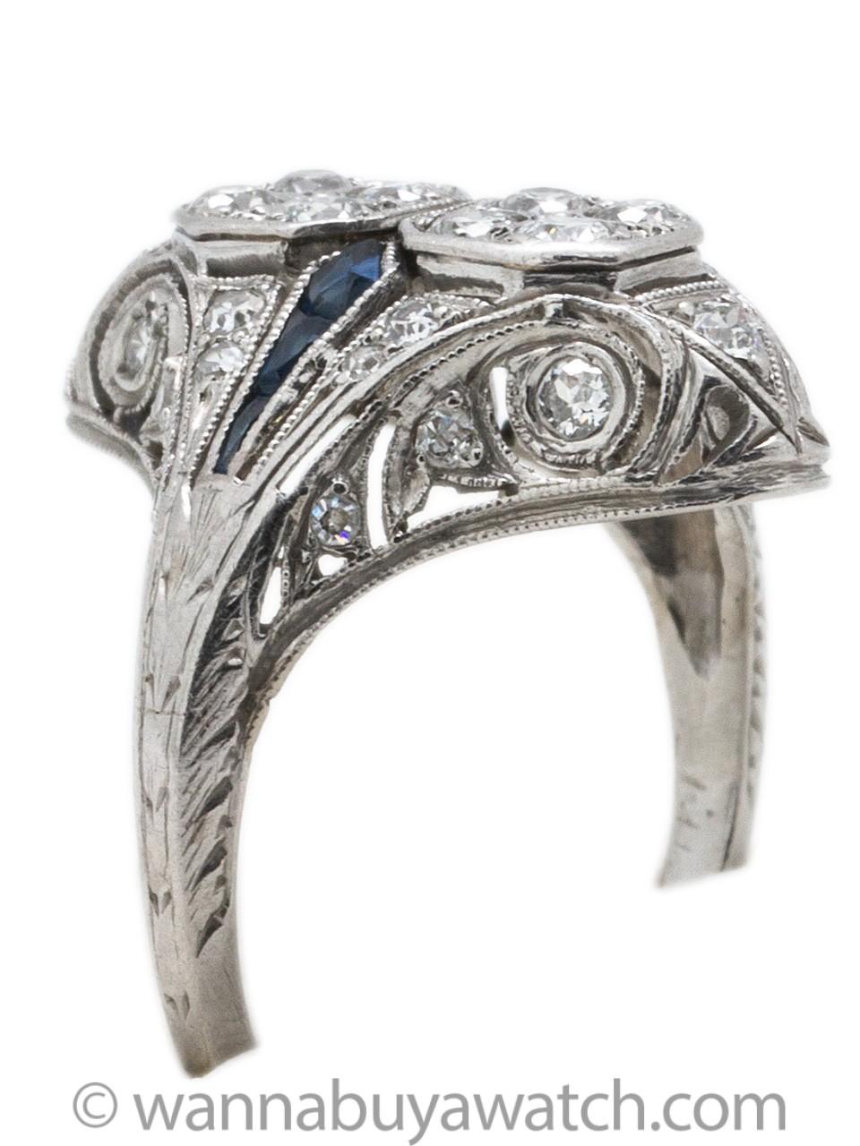 Stunning Art Deco Platinum Diamond & Sapphire Cocktail Ring circa 1920s