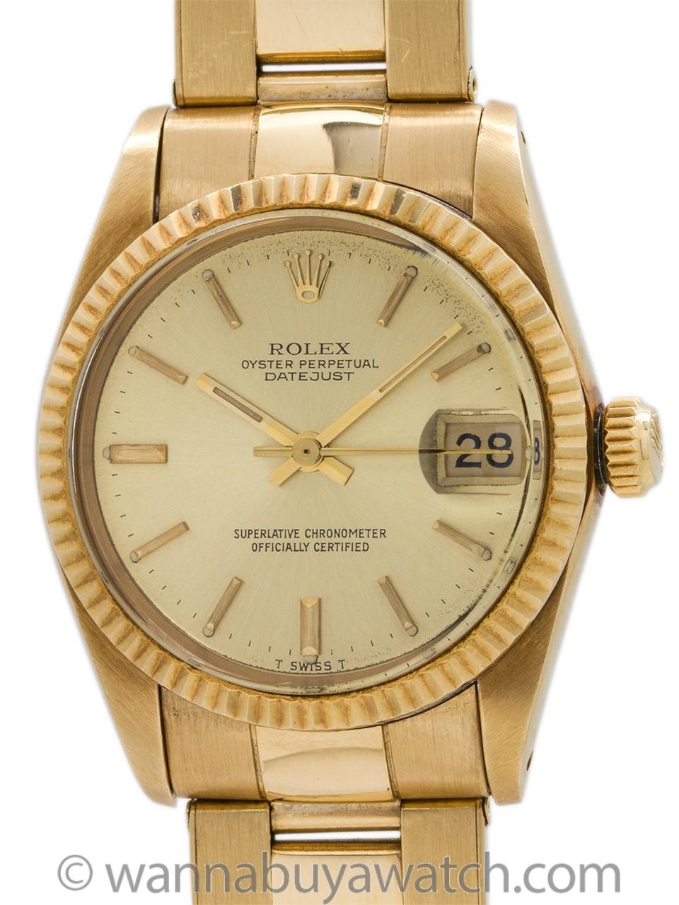Rolex Datejust 18K YG Midsize ref 6827 circa 1982