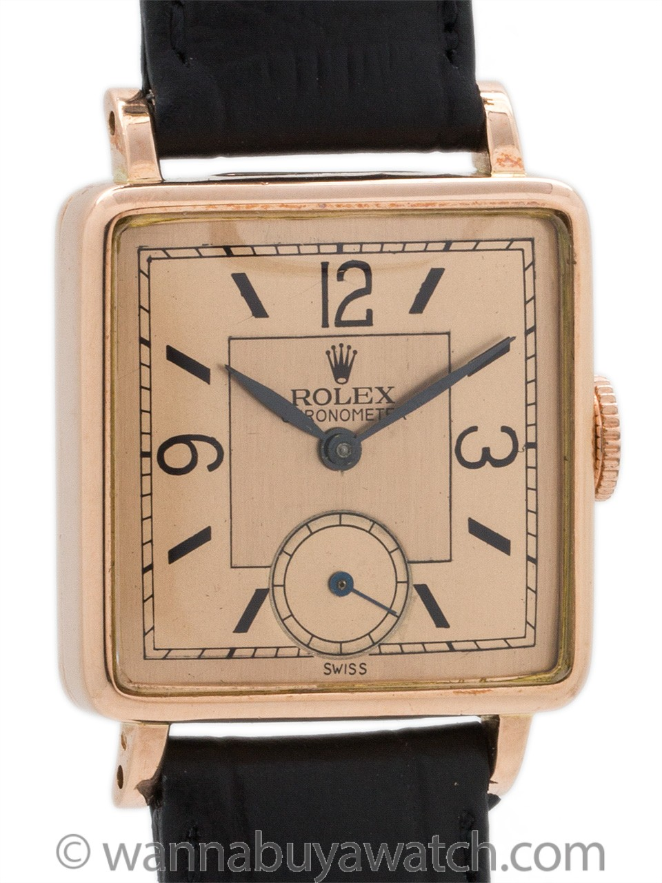 Rolex 14K Rose Gold Square Dress Model circa 1940's