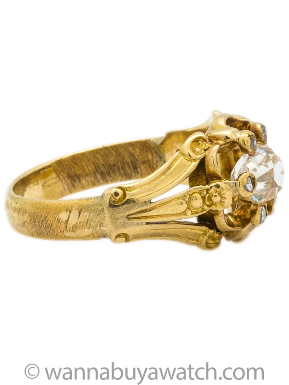 Gorgeous Old Mine Cut Diamond Victorian Ring, circa 1800s