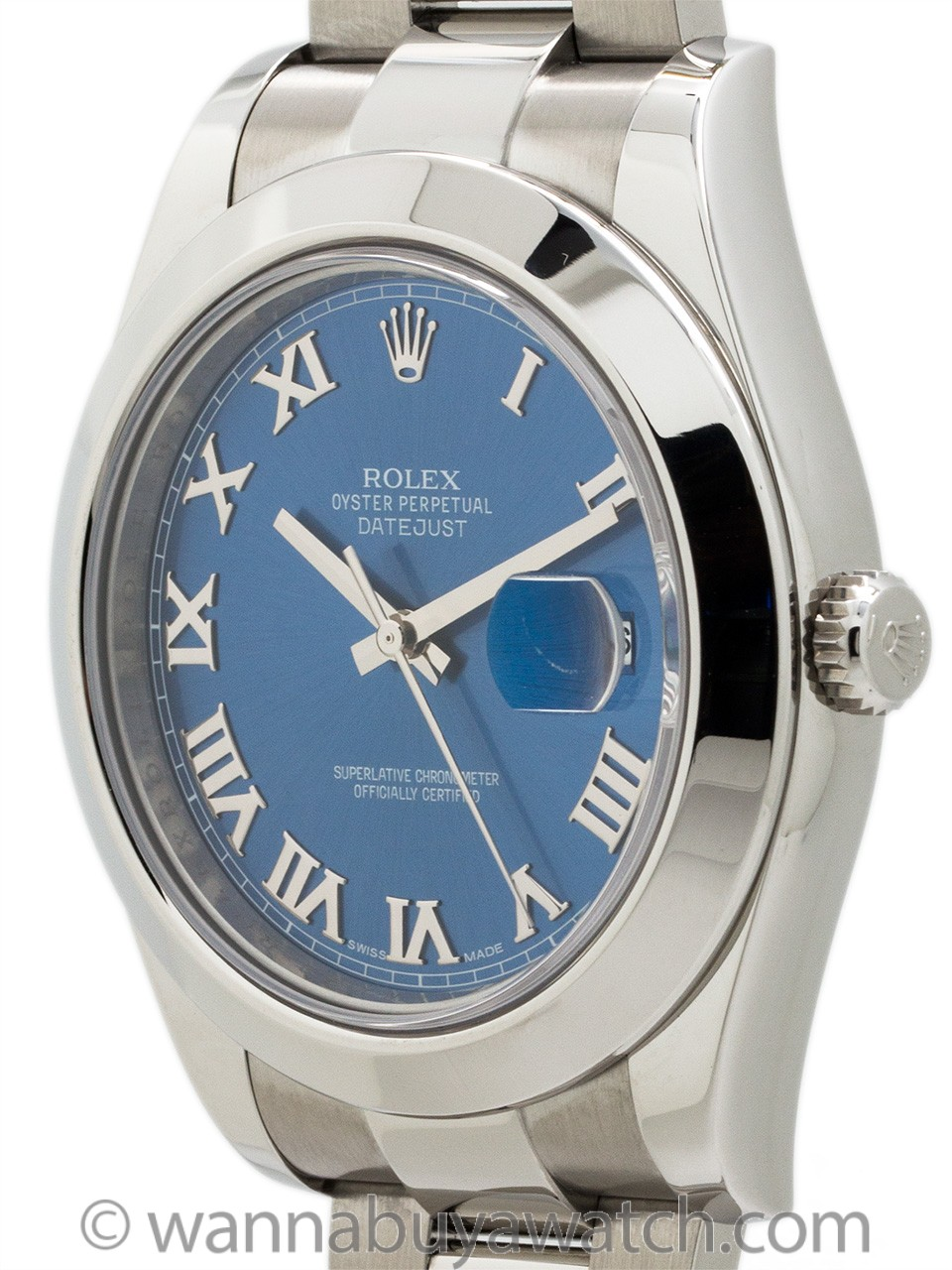 Rolex SS Datejust ll ref# 116300 Blue Roman circa 2015 w/ Card