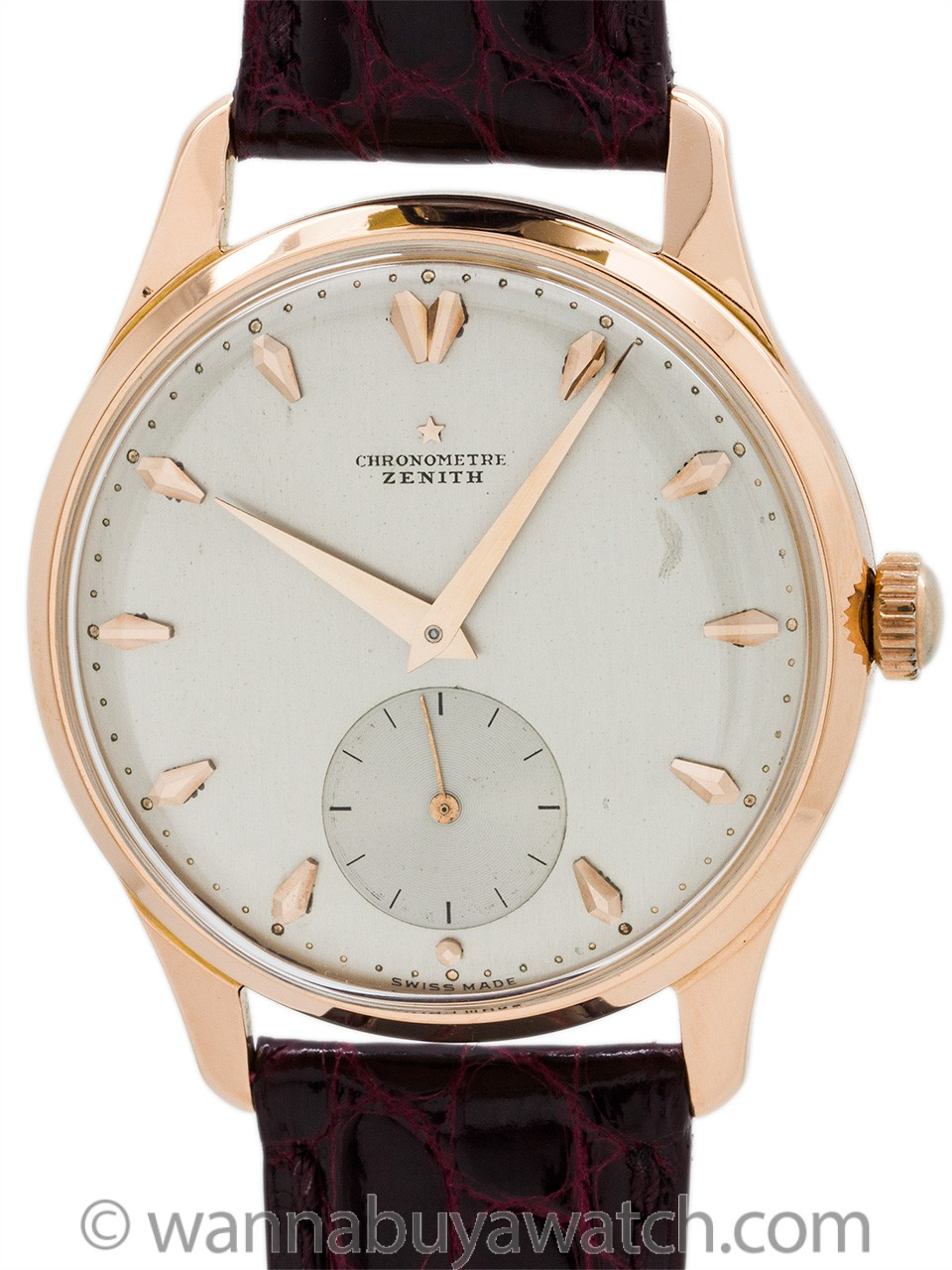 Zenith Chronometer Caliber 135 18K Rose Gold circa 1956 RARE!