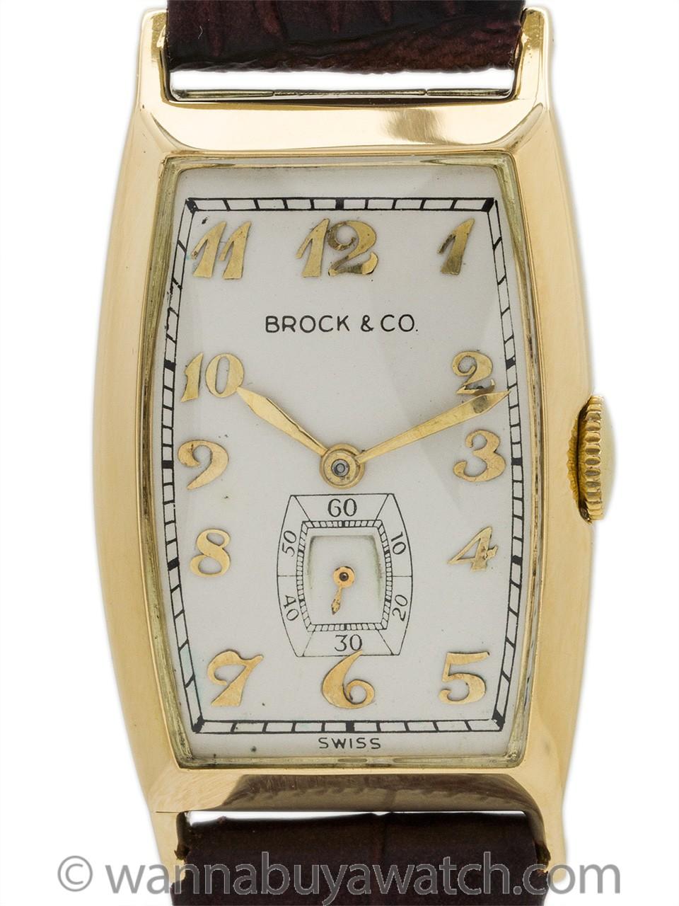 Brock & Co retailer Movado 14K YG circa 1940s