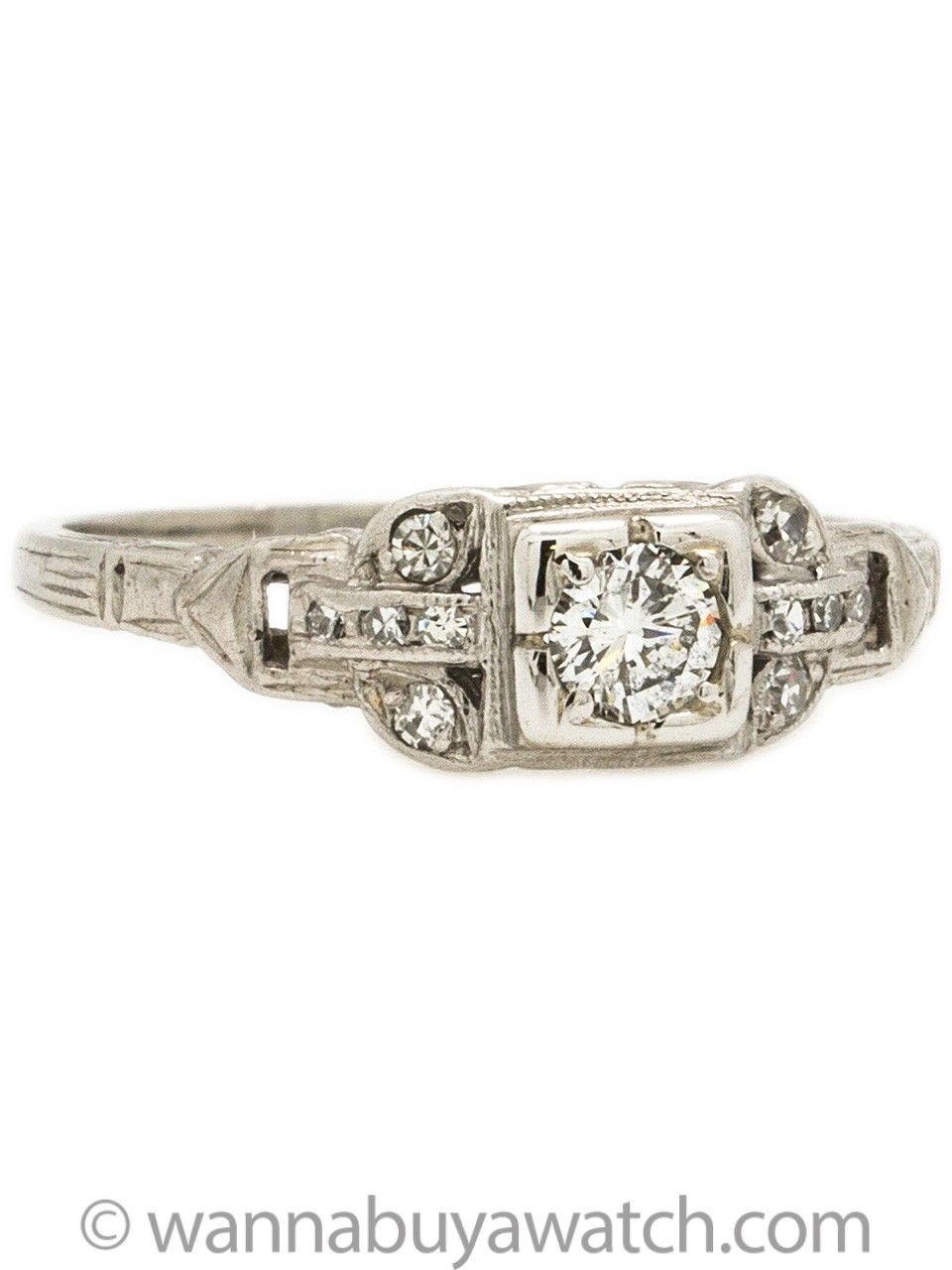 Classic Art Deco Platinum Diamond Engagement Ring .25ct G/I1 circa 1930's