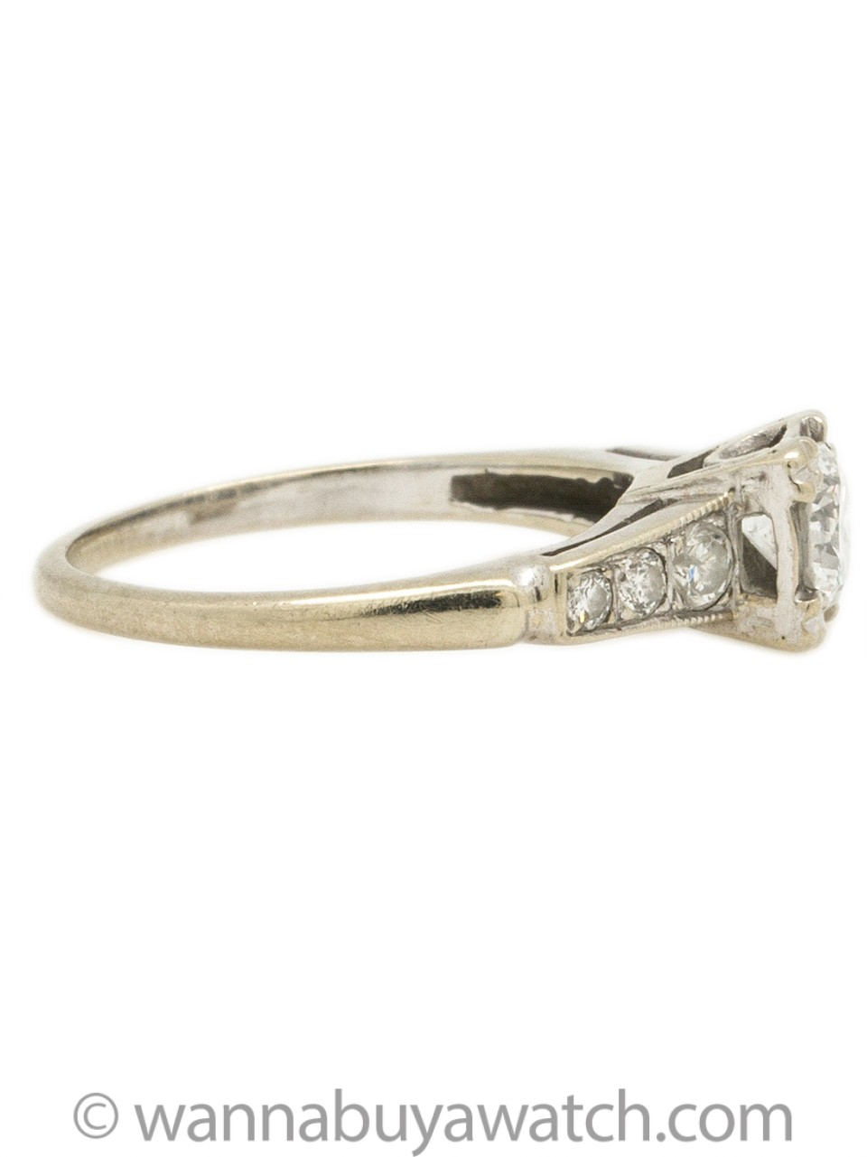 Vintage Diamond Engagement Ring 14K WG 0.40ct circa 1940s
