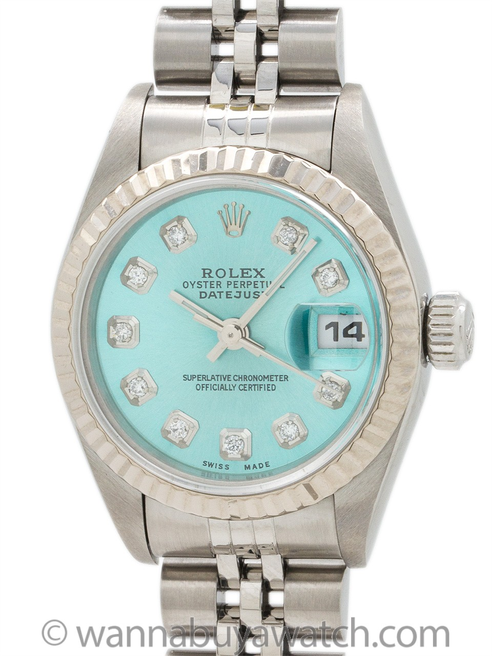 "Lady Rolex Datejust ref 79174 Custom ""Ice Blue Diamond"" circa 1998"