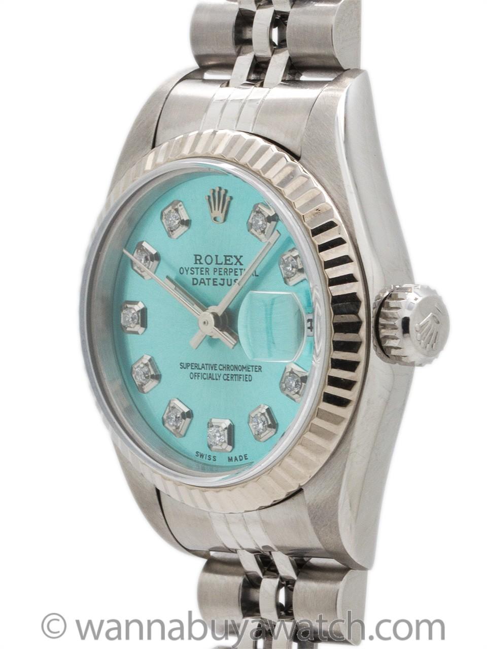 "Lady Rolex Datejust ref 79174 Custom ""Ice Blue Diamond"" circa 1998"