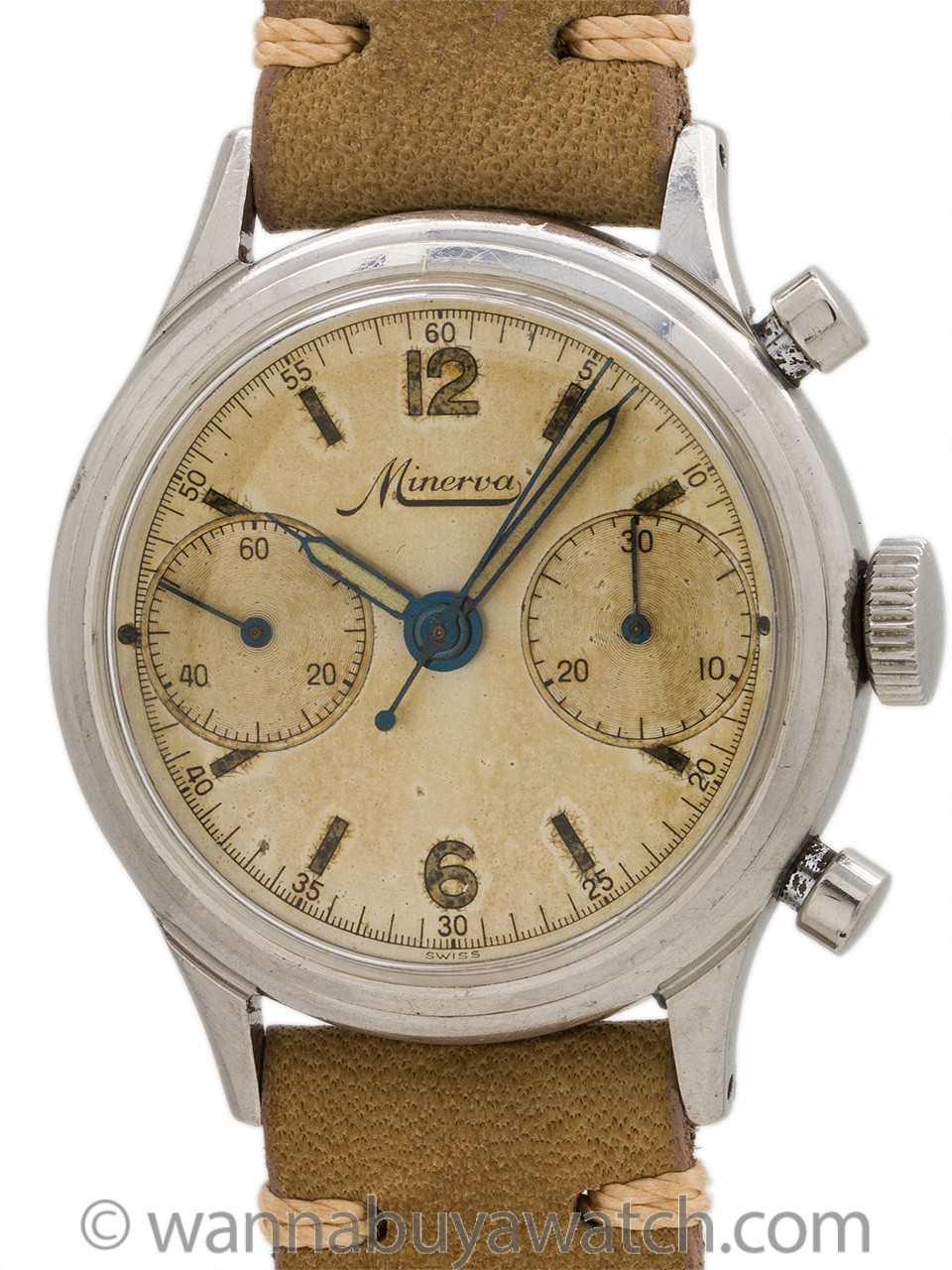 Minerva Chronograph Stainless Steel circa 1940s