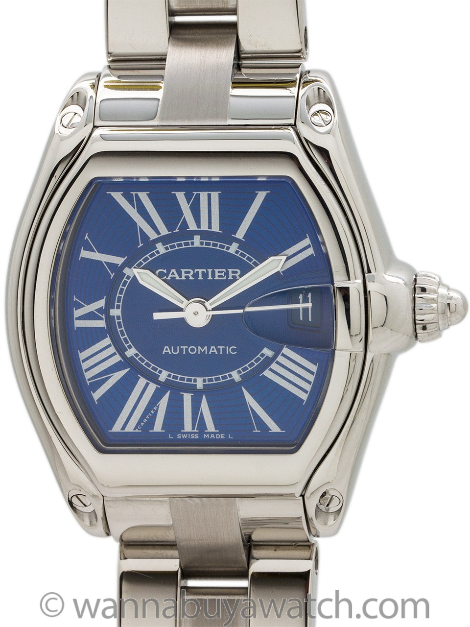 "Cartier Man's Roadster Stainless Steel ""Electric Blue"" circa 2015"